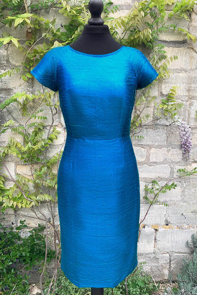 womens-smart-kingfisher-teal-blue-raw-silk-tailored-fitted-shift-dress-sample-sale-petite-wedding-guest-dress