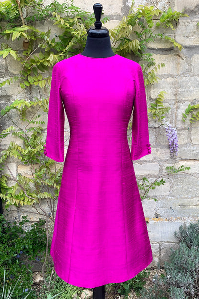 womens-aline-raw-silk-bright-pink-shift-dress-mother-of-the-bride-sample-sale-petite-wedding-guest-outfit