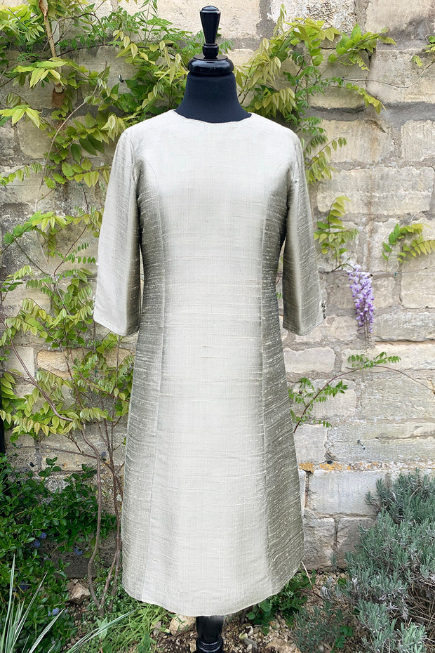 ladies-pale-gold-silver-raw-silk-aline-shift-dress-long-sleeves-mother-of-the-bride-outfit-wedding-guest-party-dress-sample-sale