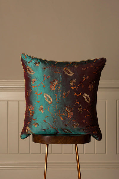 Large Silk Cushion in Aqua Teal