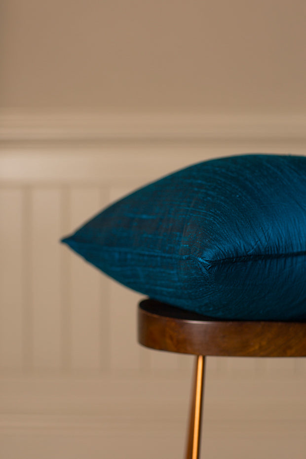 Large Silk Cushion in Kingfisher Blue