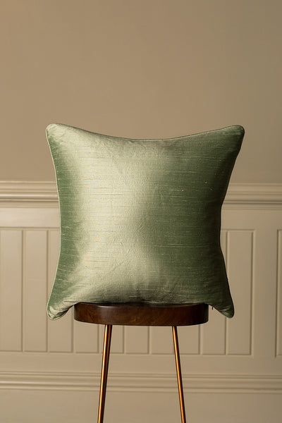 Large Silk Cushion in Pearl Green