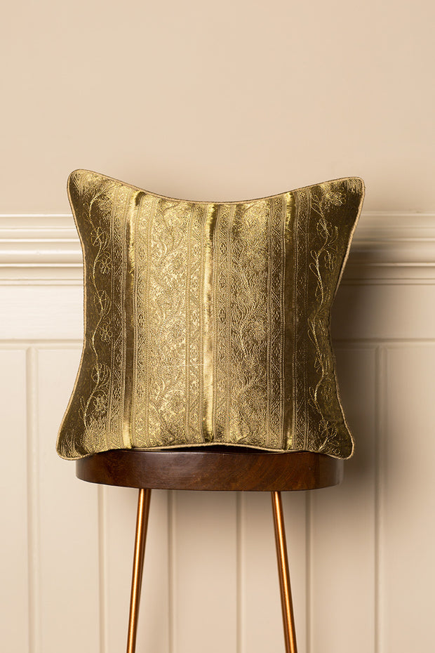 Medium Silk Cushion in Antique Gold