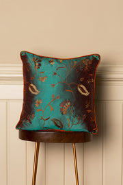 Medium Silk Cushion in Aqua Teal