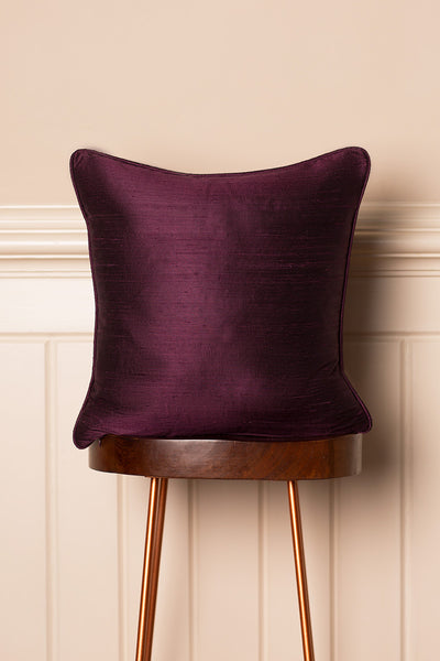 Medium Silk Cushion in Aubergine
