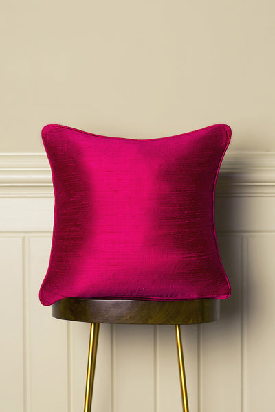Medium Silk Cushion in Hot Pink