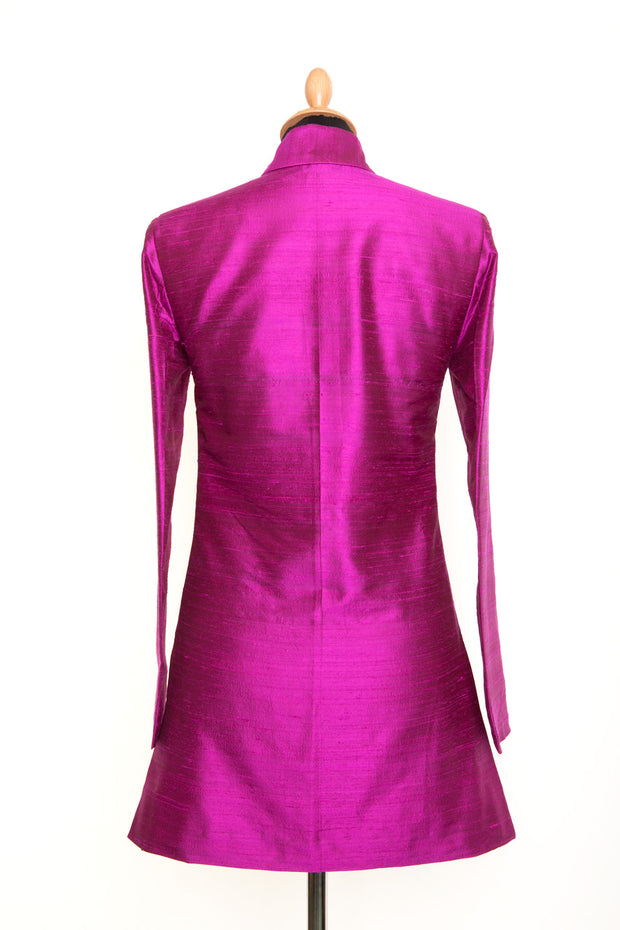 Long Nehru Jacket in Wild Orchid