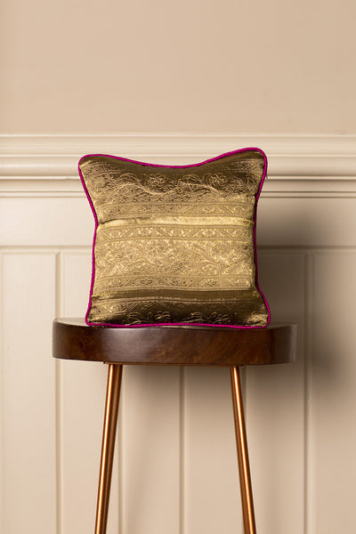 Small Silk Cushion in Antique Gold