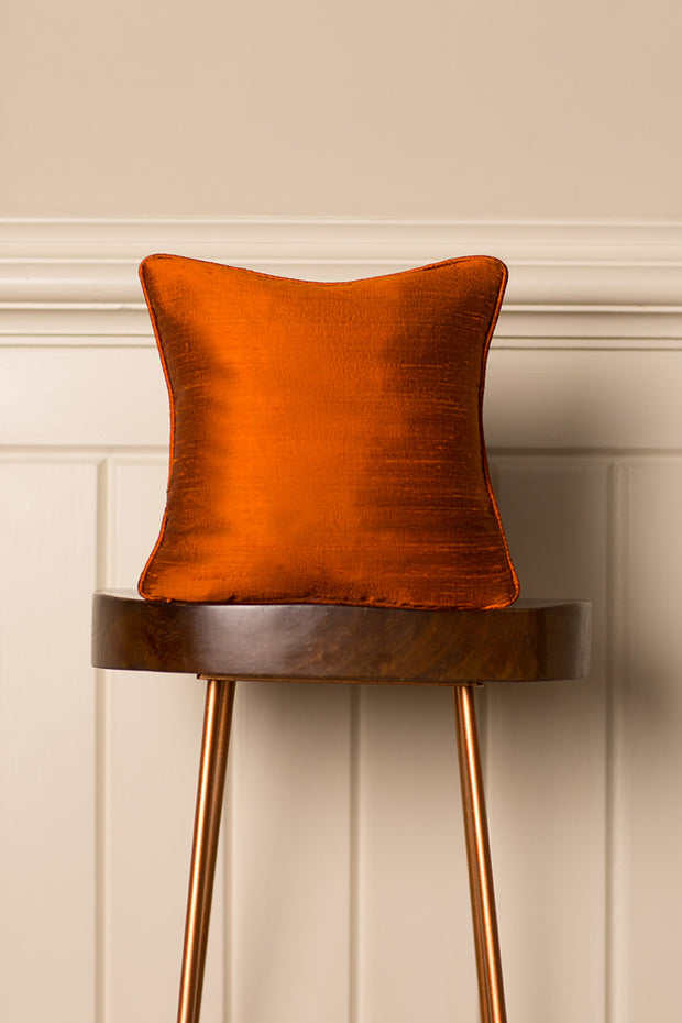 Small Silk Cushion in Burnt Orange