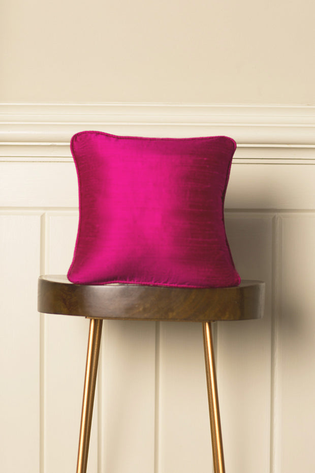 Small Silk Cushion in Hot Pink
