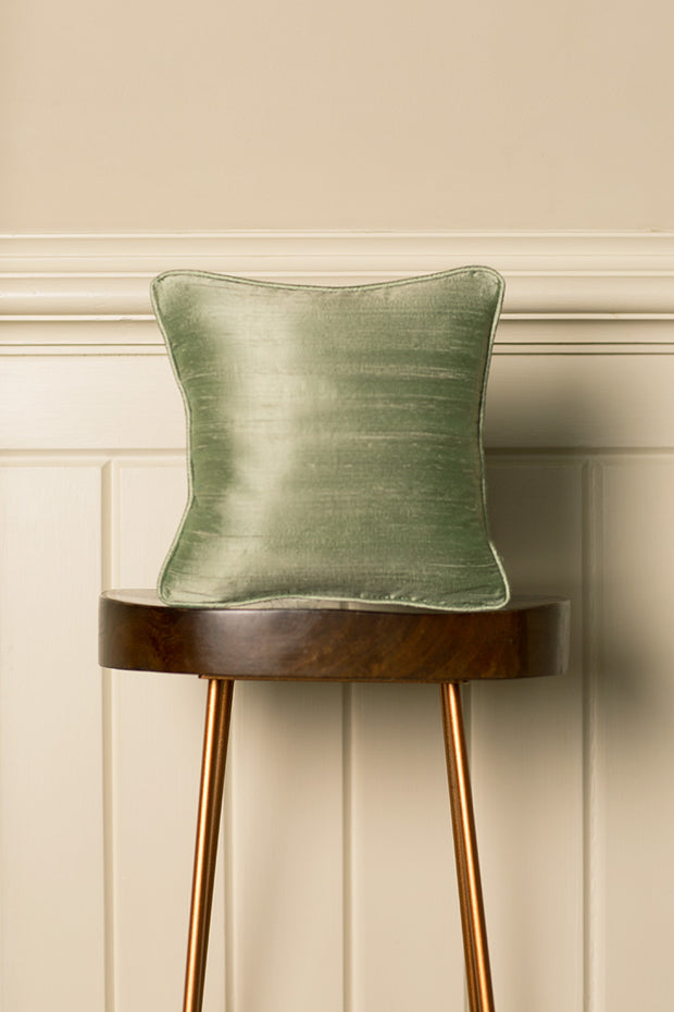 Small Silk Cushion in Pearl Green