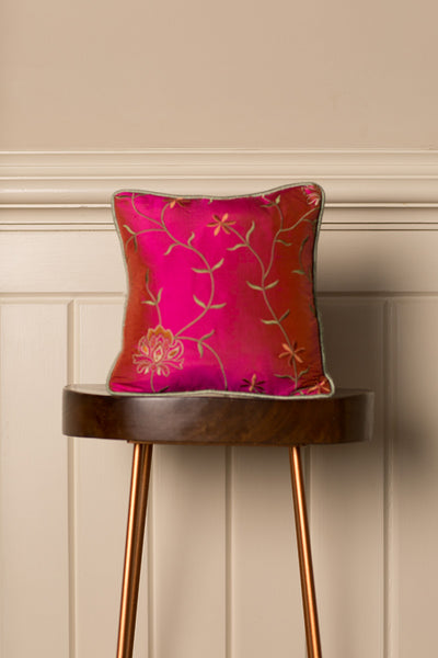 Small Silk Cushion in Schiaparelli Pink