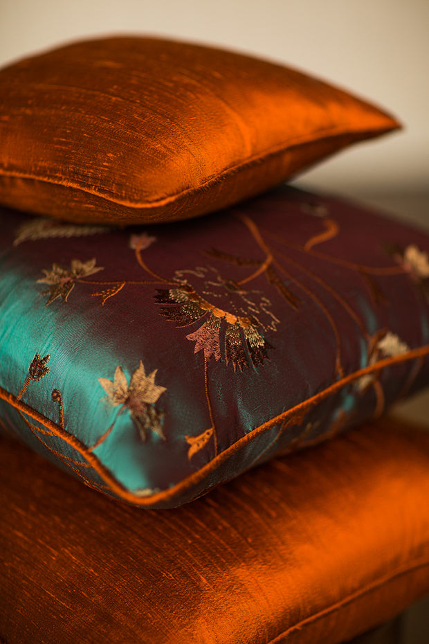Medium Silk Cushion in Burnt Orange