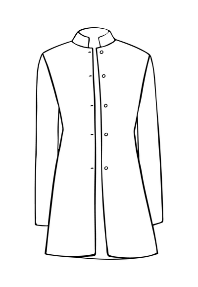 Long Nehru Jacket in Liquorice