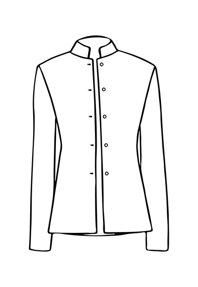 Short Nehru Jacket in Oyster Gold