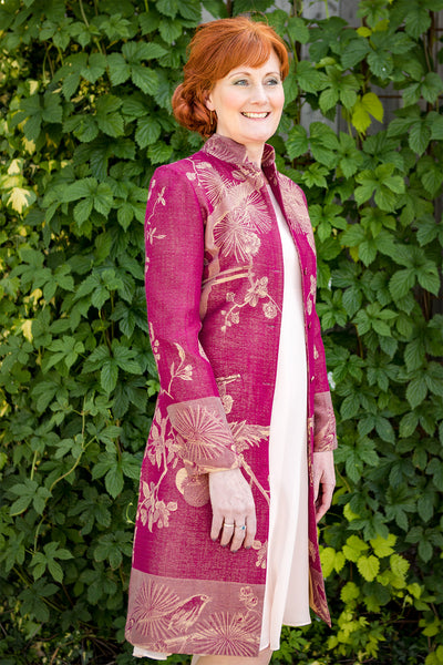 ladies raspberry pink cashmere coat, nehru collar coat, pink mother of the bride outfit