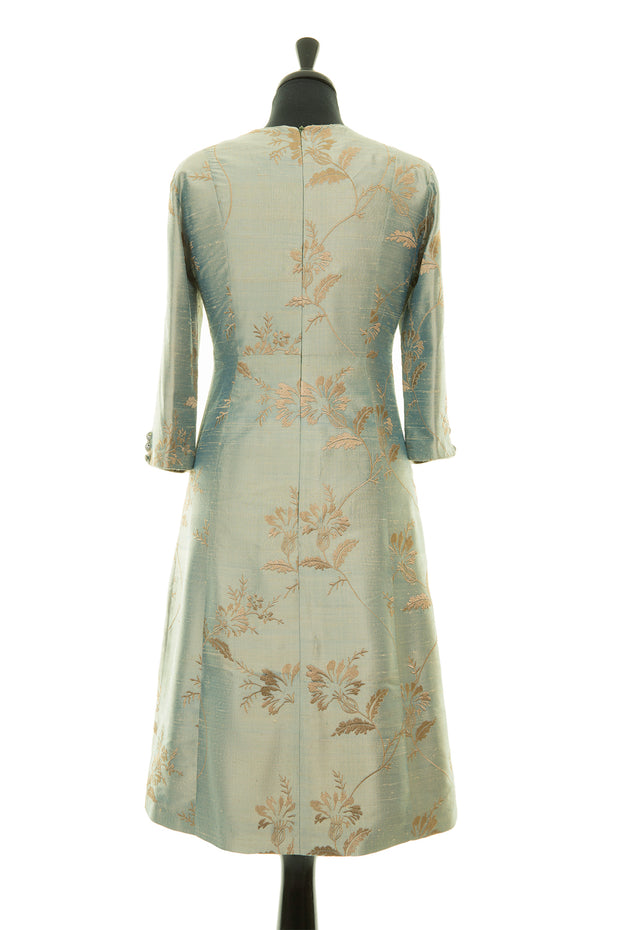 blue and gold embroidered raw silk a-line shift dress, summer wedding guest outfit, plus size mother of the bride outfit, best ascot outfits