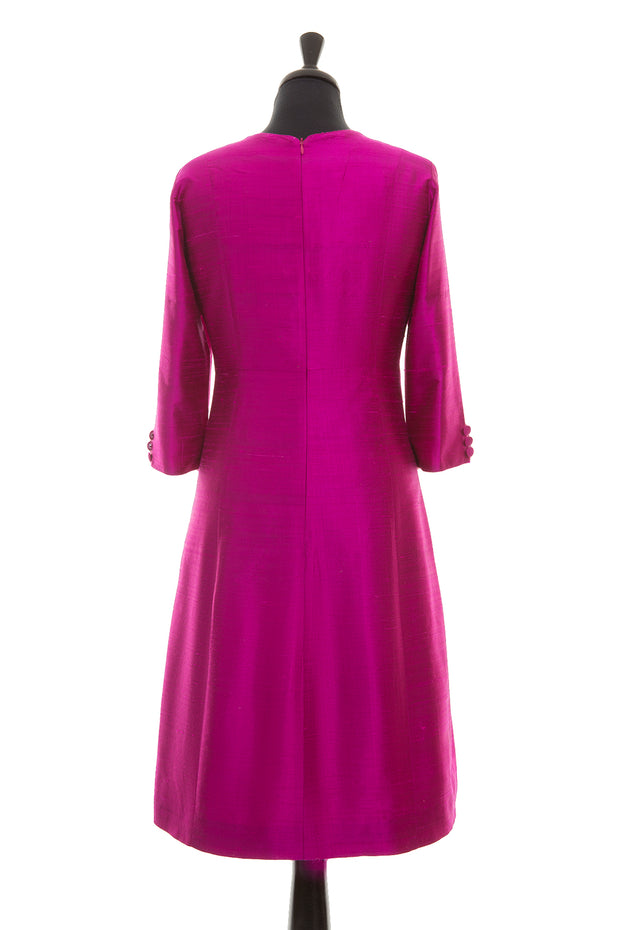 bright magenta pink raw silk a-line shift dress, wedding guest outfit, plus size mother of the bride outfit, best ascot outfits