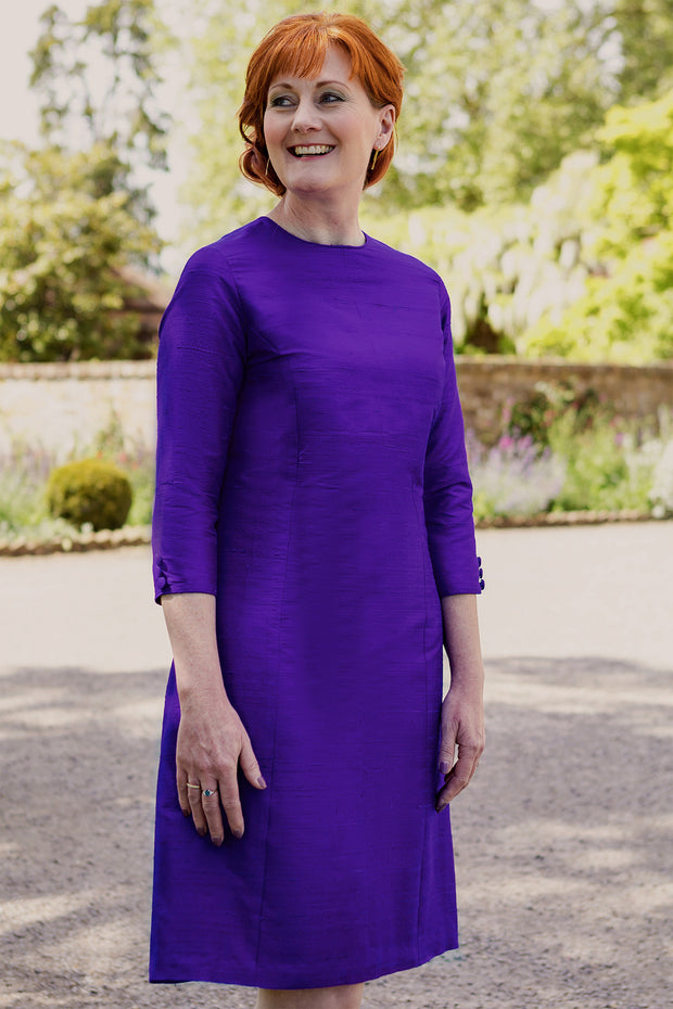 bright violet purple raw silk shift dress, a-line plus size wedding outfit, ladies outfit ideas for royal ascot, plus size silk shift dress