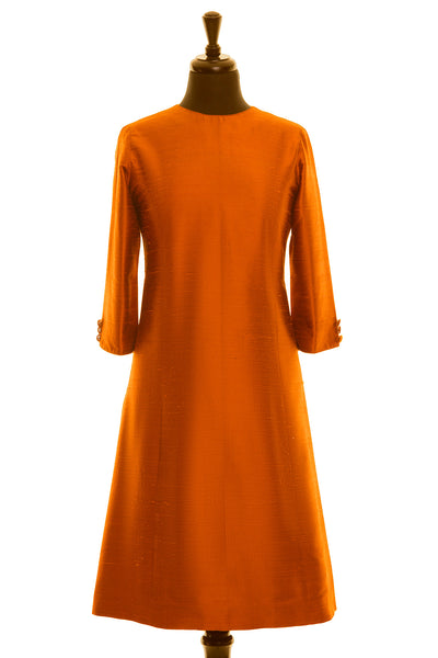 burnt orange raw silk dupion a-line shift dress, mother of the bride dress, plus size wedding guest dress, silk party dress, tailored shift dress, autumn fall winter wedding outfit