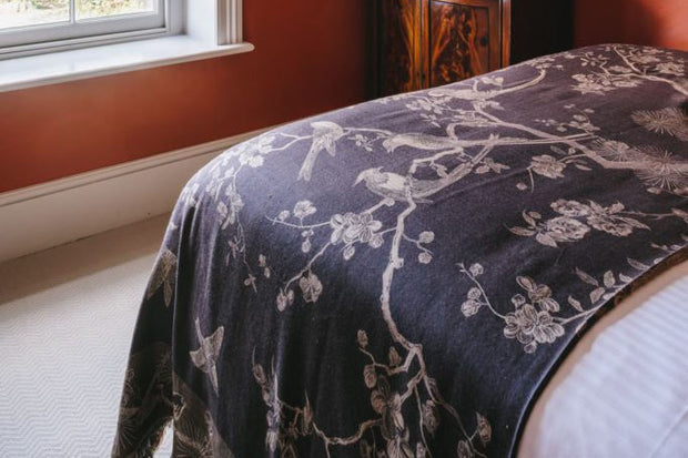 dark chocolate brown cashmere fabric, tree of life pattern, floral luxury bed throw, home decor