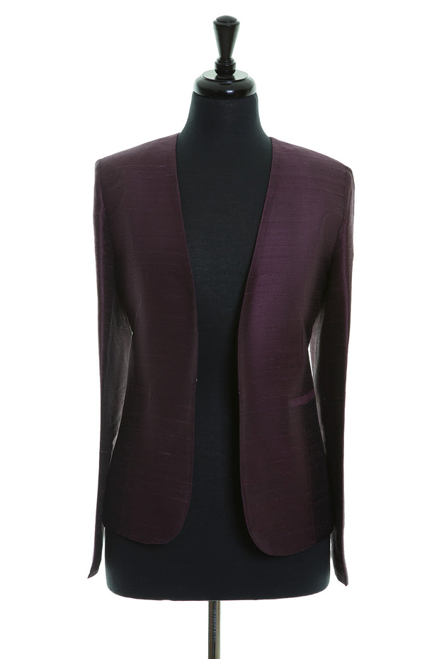 aubergine purple raw silk fitted jacket for women, collarless blazer, mother of the bride outfit, wedding guest jacket