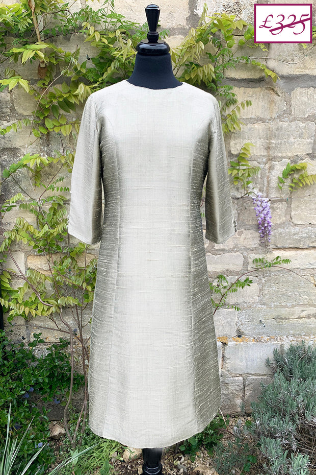 pale gold raw silk a-line shift dress, wedding guest outfit, plus size mother of the bride outfit, best ascot outfits, sale, discount