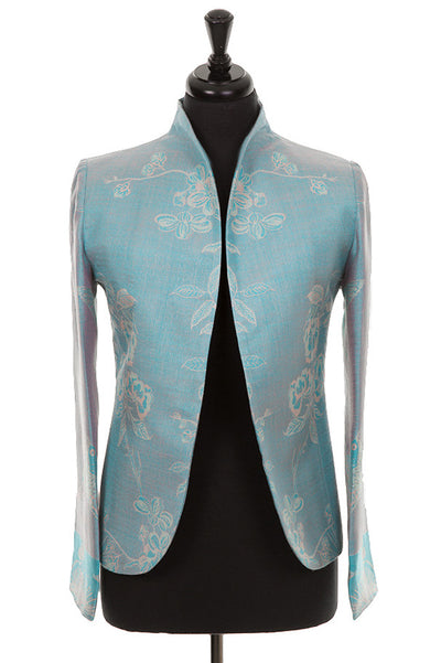 turquoise cashmere jacket for women, blue wedding outfit, plus size mother of the bride outfit to wear with trousers, smart jacket to wear with jeans, tree of life pattern, fitted jacket, opera outfit