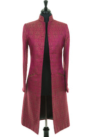 plus size wedding outfit, pink jacquard silk knee length coat, mother of the bride or groom outfit