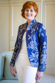 bright navy blue and silver fitted women's blazer, mother of the bride outfit, fitted jacket for ladies