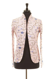 pale pink embroidered silk floral jacket, pink mother of the bride jacket, mother of the bride outfit with trousers, plus size wedding guest outfit