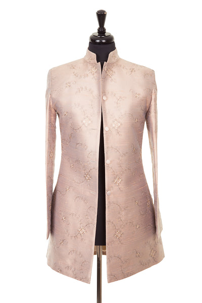 Long Nehru Jacket in Mother of Pearl