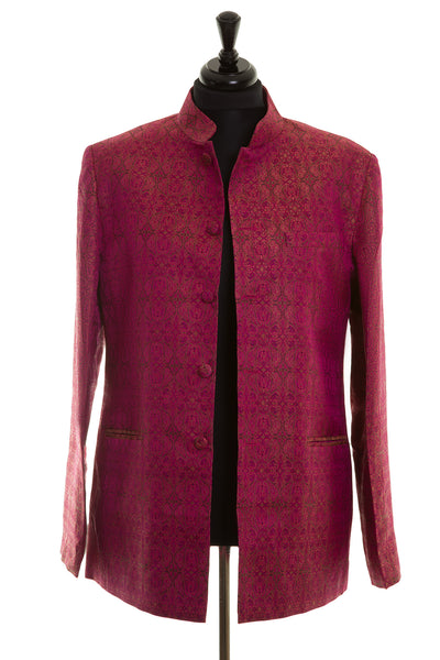 Mens Nehru Jacket in Pink Jacquard