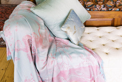 pale blue and pink bedspread, luxury bed throw, tree of life pattern, cashmere bed throw