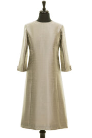 pale gold raw silk a-line shift dress, wedding guest outfit, plus size mother of the bride outfit, best ascot outfits
