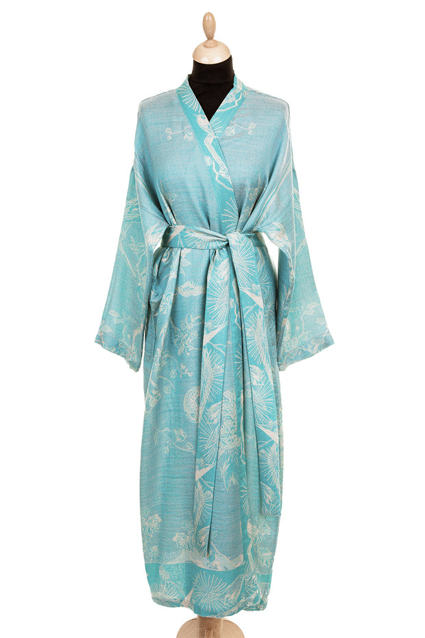 Reversible Dressing Gown in Pale Cyan