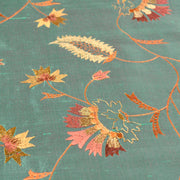 teal embroidered silk dupion fabric