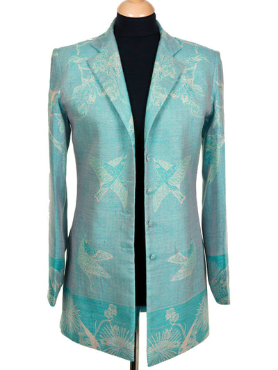 Long European Jacket in Pale Cyan
