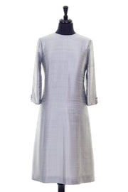 silver raw silk a-line shift dress, summer wedding guest outfit, plus size mother of the bride outfit, best ascot outfits