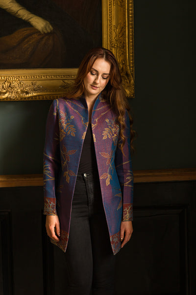 purple cashmere long jacket for women, mother of the bride outfit, outfit for the races, outfit for the opera