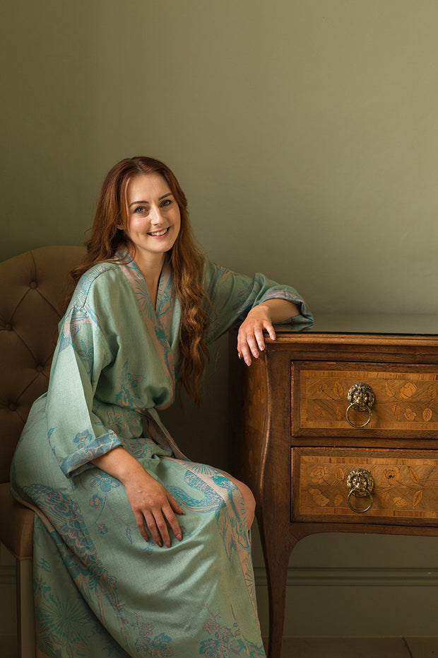 Reversible Dressing Gown in Eau De Nil