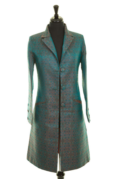 teal blue and gold jacquard silk coat, women's coat for the races, fitted coat, plus size special occasion wear