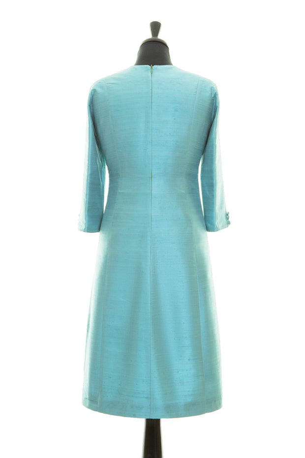 bright turquoise raw silk a-line shift dress, summer wedding guest outfit, plus size mother of the bride outfit, best ascot outfits