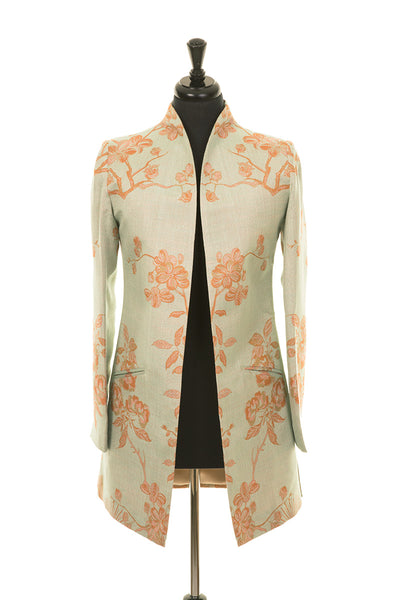 longline jacket for women, wedding outfit with trousers, plus size jacket for wedding, pale green floral jacket