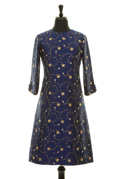 navy blue and gold embroidered silk a-line shift dress, summer wedding guest outfit, plus size mother of the bride outfit, best ascot outfits
