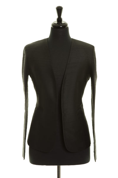 black raw silk fitted smart blazer for women, luxury office wear
