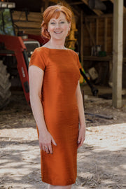 Hepburn Dress in Burnt Orange