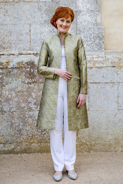 Nehru Coat in Antique Moss