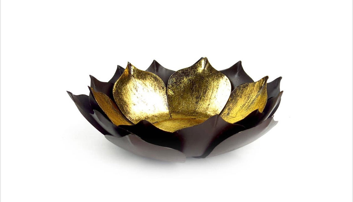 The Gold Leafed Metal Lotus Flower Bowl