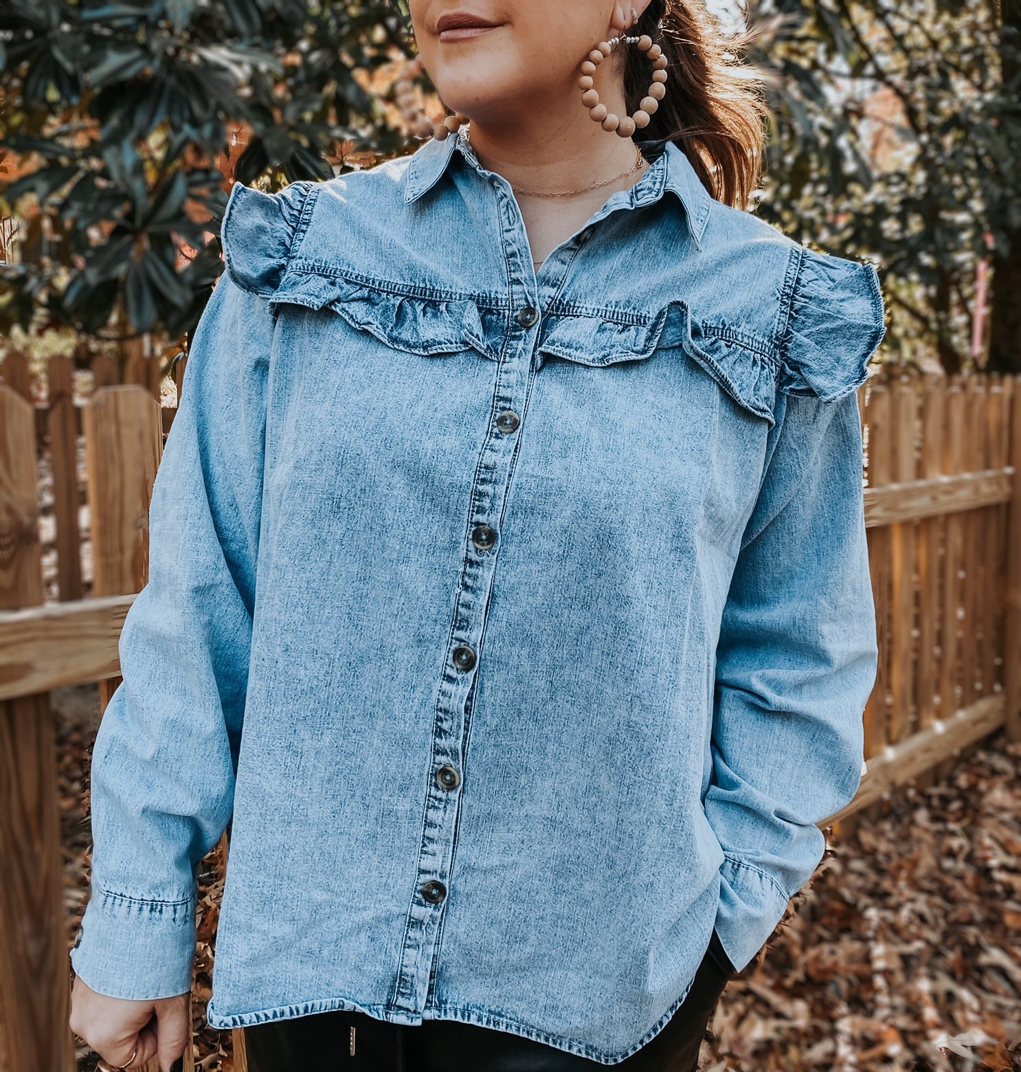 Daisy ruffle denim top